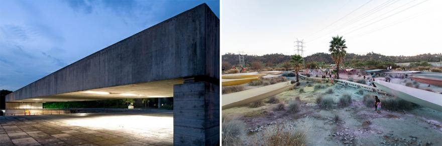 Left: Paulo Mendes da Rocha_MuBE_Sao Paulo_Photo by Nelson Kon. Right: Roundhouse Shines_Olga Koumoundouros 2014_Photo by Gina Clyne_Clockshop.org_Bowtie Project
