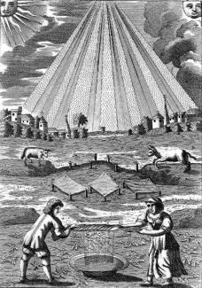 """""""Dew Harvesting,"""" from MUTUS LIBER (The Silent Book), France, 1677."""