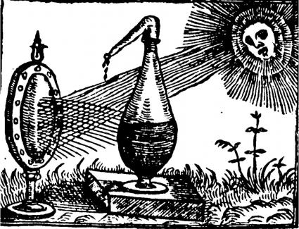 Image of distillation by lens, from Conrad Gesner, Thesaurus…de remediis secretis, Zurich, 1555, via: From natural history to science: The emergence of experimental philosophy, University of Bucharest.