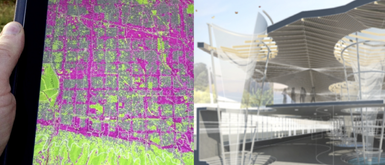 Hazel digital design tool [left] and Water Towers ALI [right], Doug Bergert, Anne Smith, Alex Sands, Perkins+Will, DLC First Prize Winner, 2014