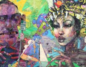 Mural by David Choe and Aryz, 7th Street, Los Angeles