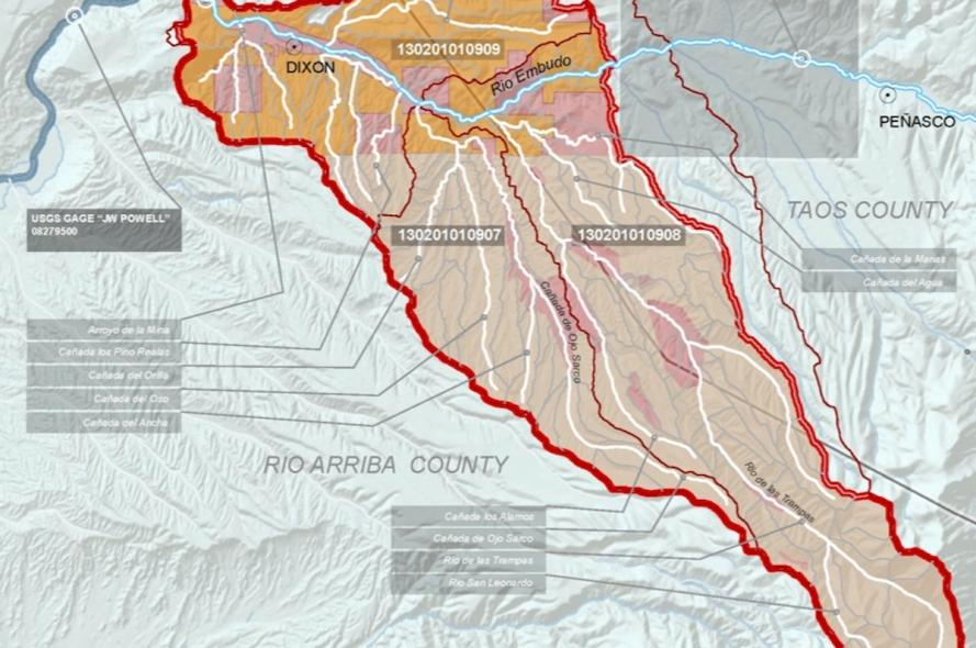 "Project Area Map, ""An Updated Watershed-Base Plan for the Lower Embudo Watershed, NM"""